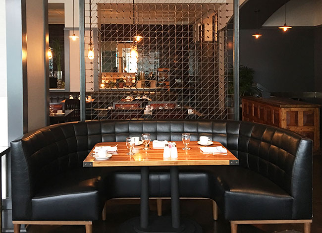 chic hotel restaurant seating
