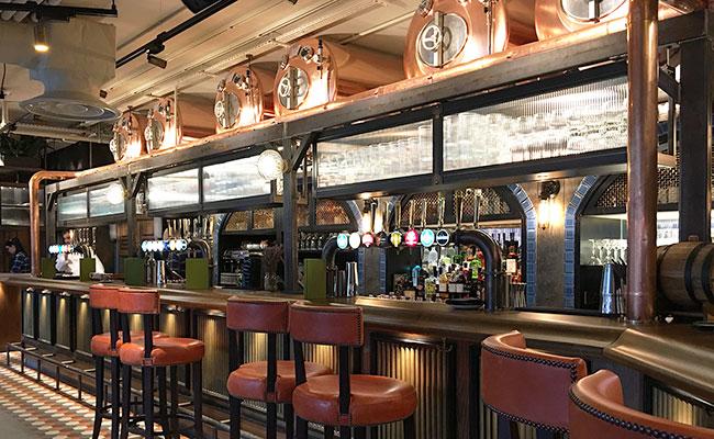 beer copper vats forming bar design in London Old Broad Street bar
