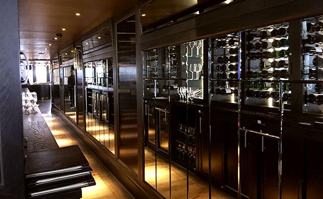 wine display corridor in a restaurant