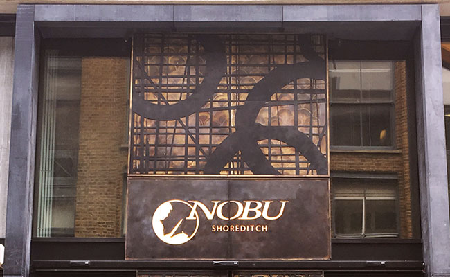 Nobu Hotel bronze sign London