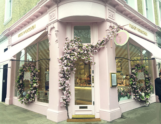 Even on the rainiest of days the pink shopfront adorned with roses was unmissable and there were no shortage of passers by taking photos of the seasonal floral installations.