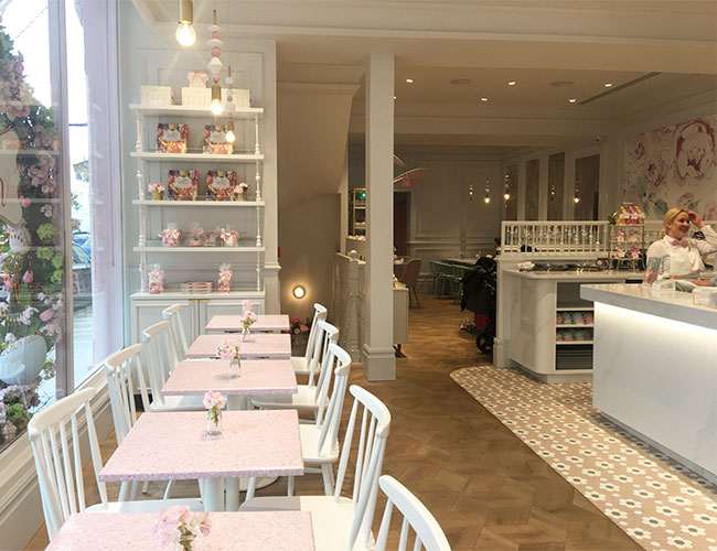 The Chelsea artisan cake shop  has the café and  lounge on the ground floor