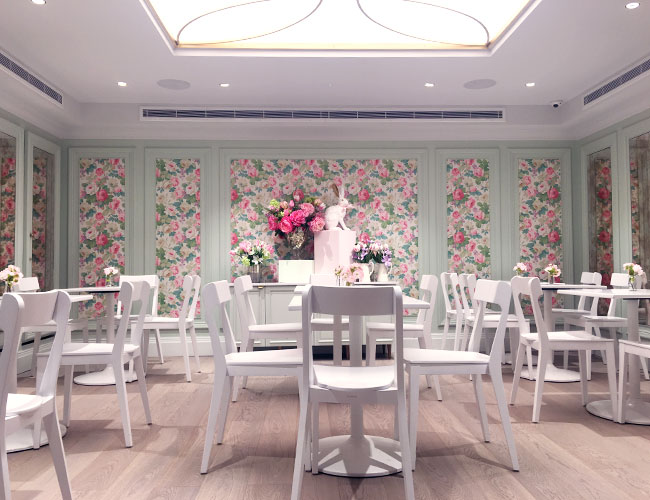 The Chelsea artisan cake shop  has the café and  lounge on the ground floor, whilst The Chelsea Rose Room and Pink Peony Bar occupy the transformed basement level.