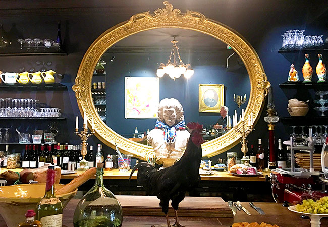 French antique mirror inside a cafe