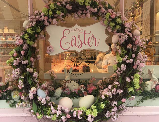 fabulous seasonal window display at London bakery is eye-catching and photogenic