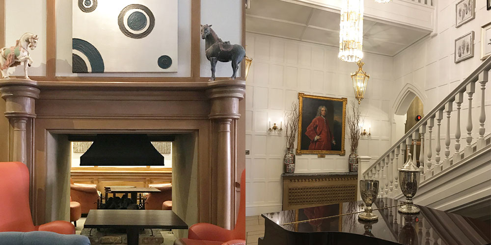 Alexander House Hotel designers retained oak wainscot panelling, intricate ceiling features and fireplaces inside but the newer building extensions, new carpet flooring and even the painting of the original wood paneling aren't as harmonious combinations