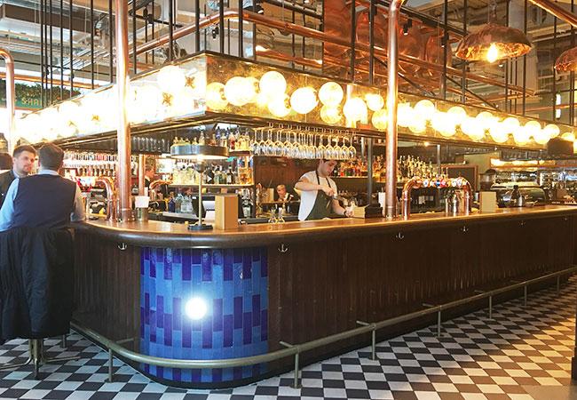 cool bar design with beer casks