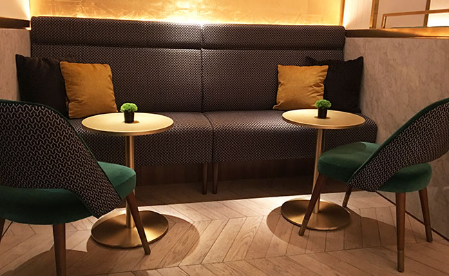 Indian Accent bar area seating design