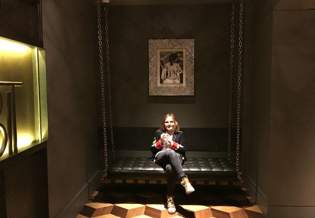 Mina Myall in San Francisco hotel lobby