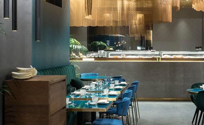 fantastic Asian restaurant designer used blue furniture