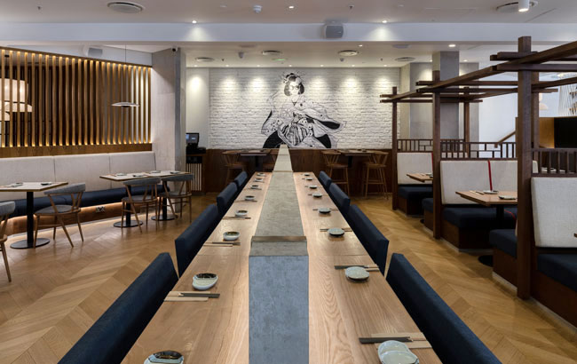 The Japanese inspired restaurant Osaka in Reading with large dating table and modern geisha illustration