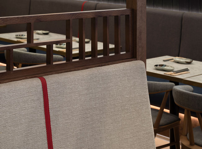 The Japanese influence is subtly echoed in the restaurant's interior, where attention to detail is reflected in bespoke designed furniture and fittings.