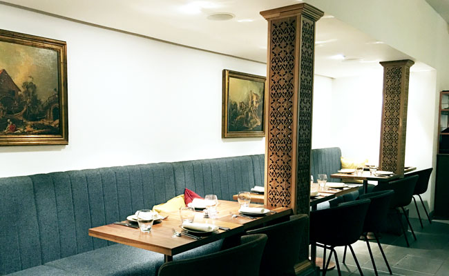 carved columns are reminder of previous Uzbeki restaurant