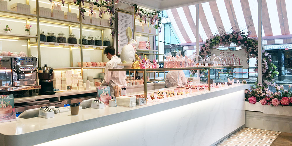 London Patisseries and cake shop designers are adopting classic interior details and introducing a soft and eclectic spin to create friendly interiors and a photographic destination for and Instagram posts.