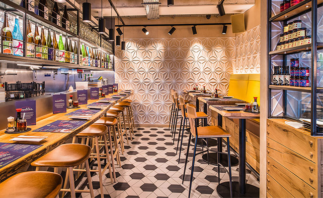 Tonkotsu ramen bar in London was designed by Blenheim design. Tonkotsu Peckham