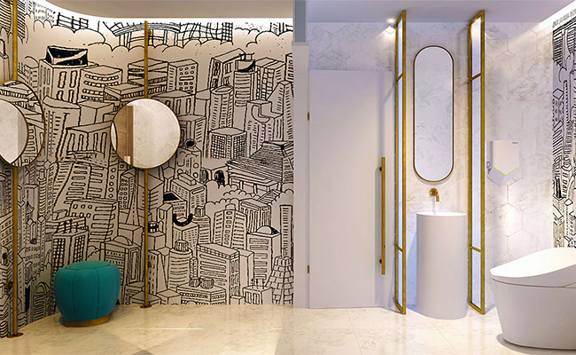 trendy bathroom interior features Toto toilet, hexagonal marble wall tiles and black and white wall graphics with brass for a truly unique space worthy of uploading to social media.
