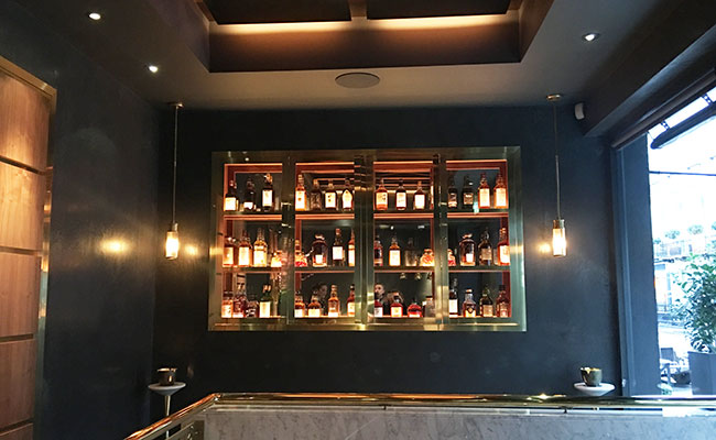 whiskey display in an Indian bar