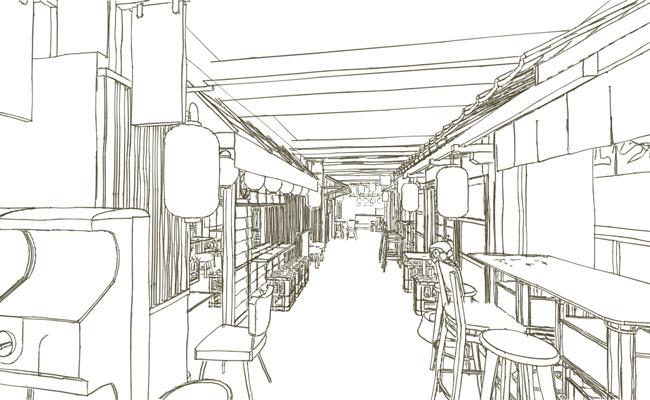 Yokocho restaurant sketch design showing bar alley with street food vendors.