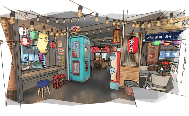Japanese food alley decorated with Japanese telephone booth, geshapon and other vending machines. aged