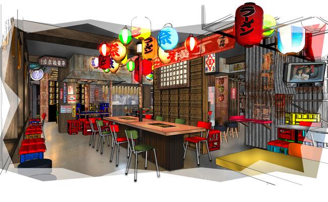 Japanese street food hall interior design