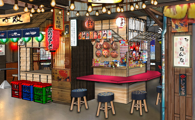 Japanese restaurant featuring various street food ikiosks in the heart of London.