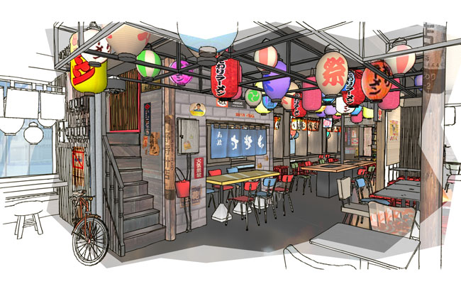 Neglected corrugated walls with power units, cables, bicycle chained to lamp posts,Yatai street vendor cart have been used to set  traditional Tokyo ramen alley scene - Yokocho.